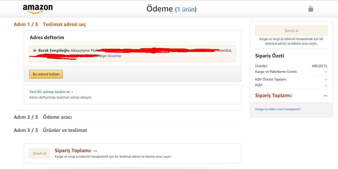 Amazon Ödeme Sayfası