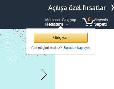 Amazon Türkiye Üyelik