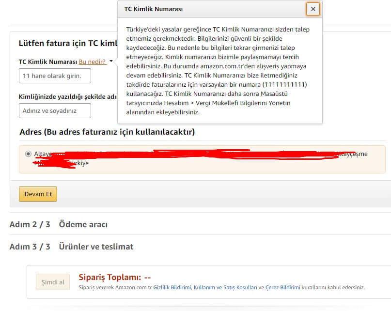Amazon Türkiye TC NO Soruyor