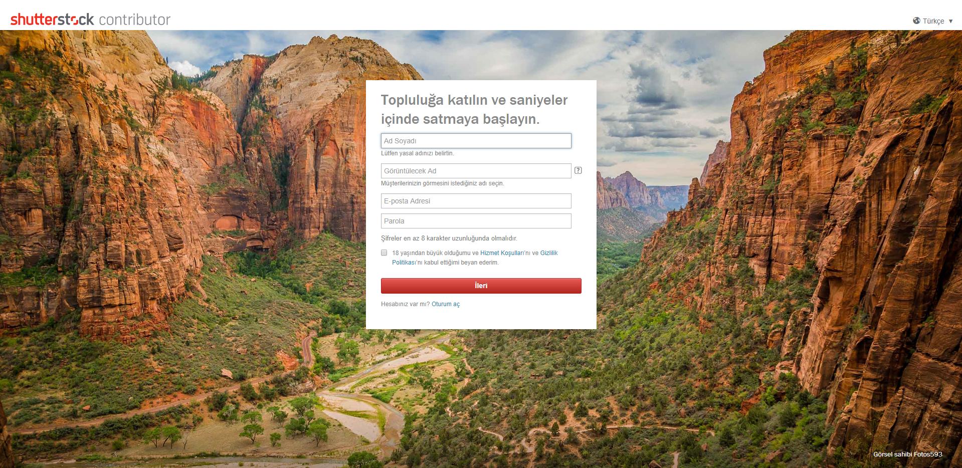 Shutterstock Contributor Hesabı Oluşturma